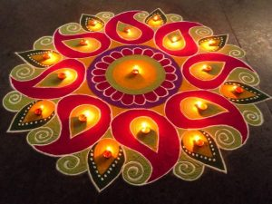 Diwa and Flame Pattern rangoli design for Diwali