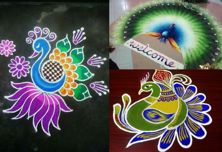 Diwali rangoli design with contrast