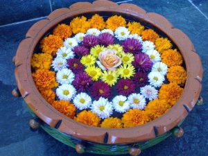Floating Rangoli with flowers