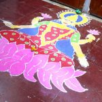 Goddess Lakshmi in a rangoli for Diwali