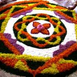 Onam rangoli with flower