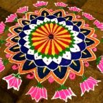 rangoli with clorfu powder