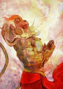 Lord Hanuman carries a mountain